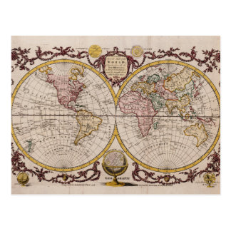 1782 Map of the World by George Augustus Baldwyn Postcard