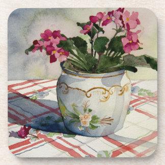 1790 African Violets in Blue Pot Coaster