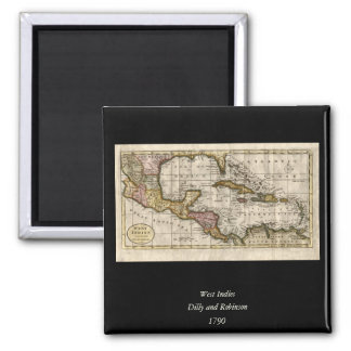 1790 Map of The West Indies by Dilly and Robinson Square Magnet