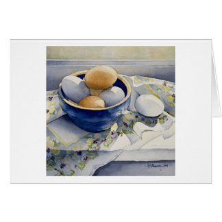 1791 Eggs in Blue Bowl Greeting Card