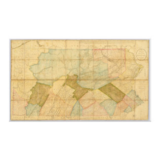 1792 State Of Pennsylvania Map by Reading Howell Canvas Print