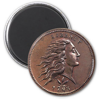 1793 Flowing Hair U.S. Penny 6 Cm Round Magnet