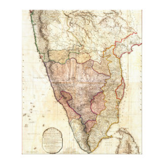1793 William Faden Wall Map of India Stretched Canvas Prints