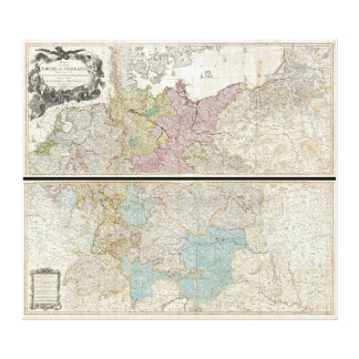 1794 Delarochette Map of the Empire of Germany Gallery Wrapped Canvas