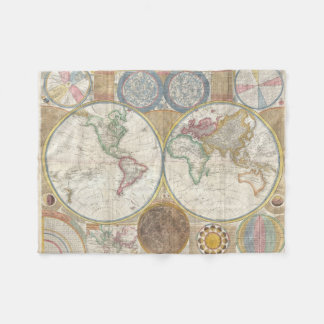 1794 Double Hemisphere Map Fleece Blanket