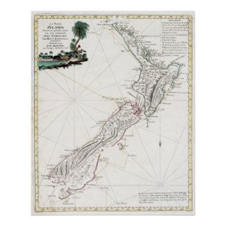 1794 New Zealand Map Poster