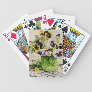 1794 Pansies in Green Glass Pitcher Bicycle Playing Cards