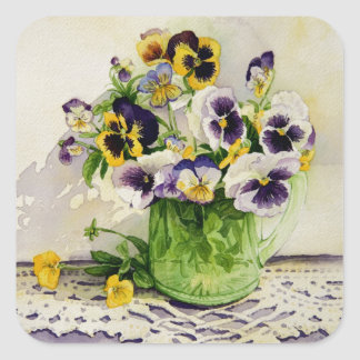 1794 Pansies in Green Glass Pitcher Square Sticker