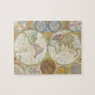Old world map jigsaw puzzles zazzle 1794 samuel dunn map of the world in hemispheres jigsaw puzzle gumiabroncs Gallery
