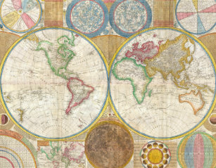 Vintage world map jigsaw puzzles zazzle 1794 samuel dunn map of the world in hemispheres jigsaw puzzle gumiabroncs Choice Image