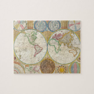 1794 Samuel Dunn Map of the World in Hemispheres Jigsaw Puzzle