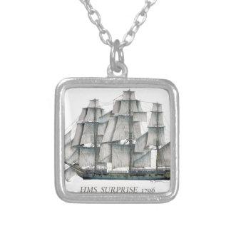 1796 HMS Surprise art Silver Plated Necklace