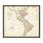 1796 Mannert Map of North and South America Stretched Canvas Print