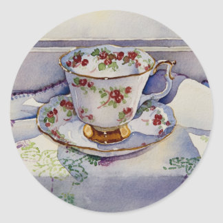 1799 Teacup on Linen Classic Round Sticker
