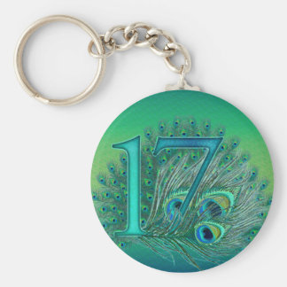 17 birthday peacock template age number basic round button key ring