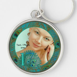17 birthday peacock template age number Silver-Colored round key ring