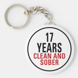 17 Years Clean and Sober Basic Round Button Key Ring
