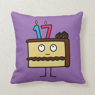 17th Birthday Cake with Candles Cushion
