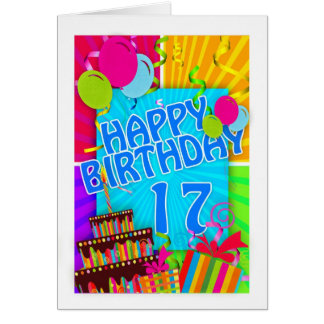 17th birthday card bright and colorful - cake and