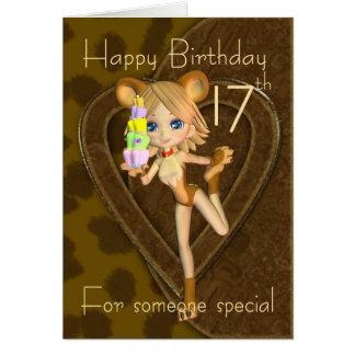 17th Birthday card, Cutie Pie Animal Collection Card