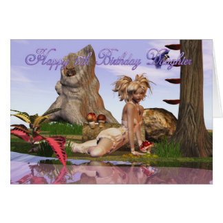 17th Birthday Darling Daughter, Elf fantasy lake Card