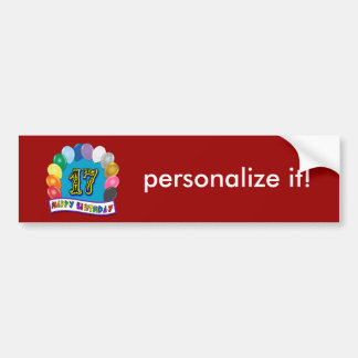 17th Birthday Gifts with Assorted Balloons Design Bumper Stickers