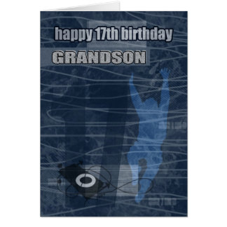 17th Birthday Grandson Modern Design Card