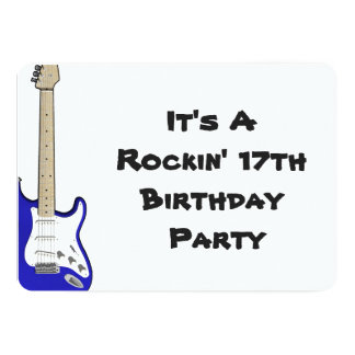 17th Birthday Invitation, blue and white guitar. Card