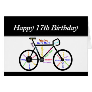 17th Birthday Motivational Bike Bicycle Cycling Greeting Card