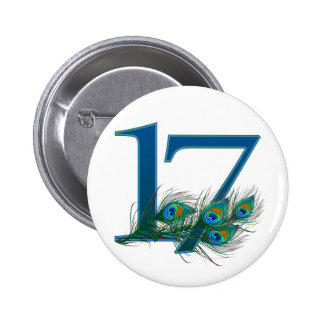 17th birthday or anniversary peacock numbers 6 cm round badge