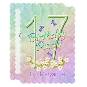 17th Birthday Party Butterfly Garden Invitation