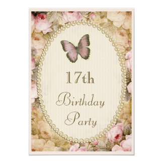 17th Birthday Vintage Roses Butterfly, Music Notes Card