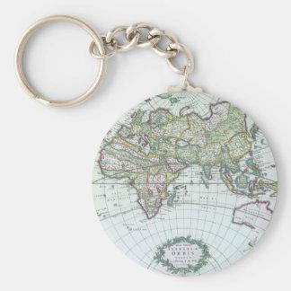17th Century Antique World Map, Frederick De Wit Key Ring