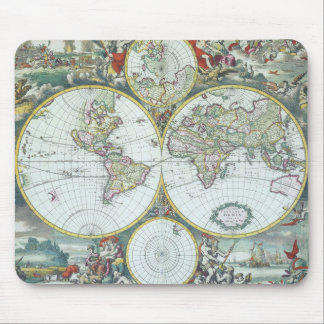 17th Century Antique World Map, Frederick De Wit Mouse Pad