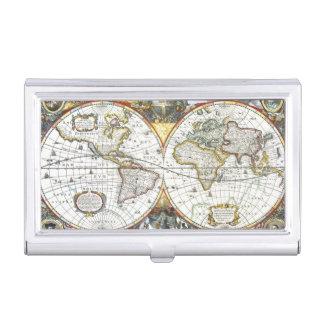 17th Century Antique World Map, Hendrik Hondius Business Card Cases