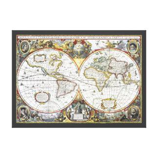 17th Century Antique World Map, Hendrik Hondius Canvas Prints