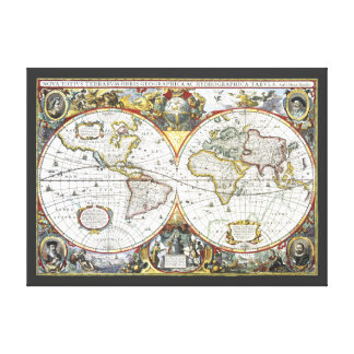 17th Century Antique World Map, Hendrik Hondius Canvas Print