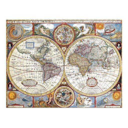 17th Century Dual Hemisphere World Map Postcards