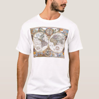 17th Century Dual Hemisphere World Map T-Shirt