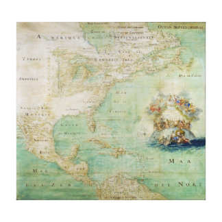 17th Century Map the Americas By Claude Bernou Gallery Wrap Canvas