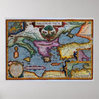 17th Century Mediterranean Map Poster
