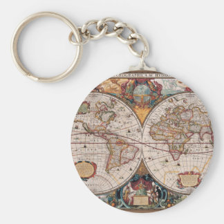 17th Century original World Map1600s Key Ring