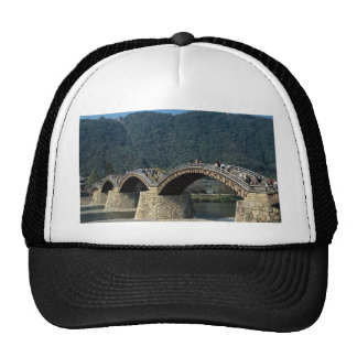 17th century stone and wood Kintai Bridge, Japan Mesh Hat