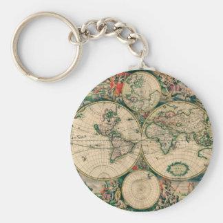 17th Century World Map Key Ring