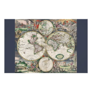 17th Century World Map Stationery
