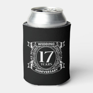 17TH wedding anniversary black and white Can Cooler