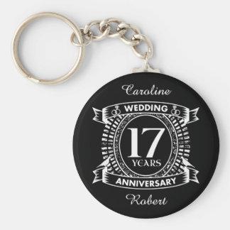 17TH wedding anniversary black and white Key Ring