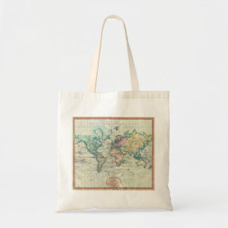 1801 Cary Map of the World on Mercator Projection Budget Tote Bag