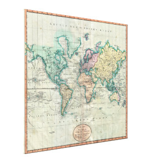 1801 Cary Map of the World on Mercator Projection Stretched Canvas Prints