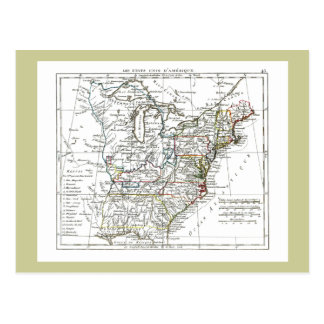 1806 Map - Les Etats Unis d'Amrique Postcard